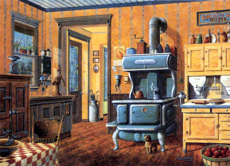 Country Kitchen Cook Stove Hoosier Cabinet Coffee Grinder Print Signed Souders